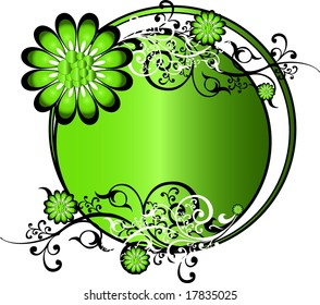 Green round background pattern vector illustration with flowers and intricate arabesques