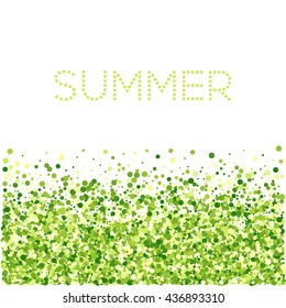 Green round particles on white background with text summer. Confetti circles.