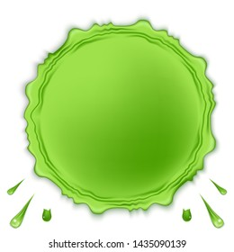 Green round slime isolated on white background. Goo spooky dripping liquid, blots and splashes. Design element for halloween scary slime banner. Vector illustration.