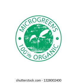 Green rubber stamp Microgreen on a white background. Design for packing seeds, fresh microgreen. Microgreen sprouts for healthy food. Vector illustration