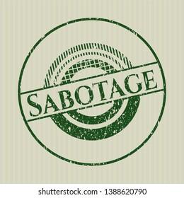 Green Sabotage distress rubber stamp with grunge texture