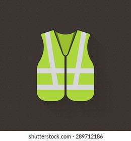 Green safety vest icon - Vector