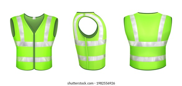 Green safety vest with reflective stripes, uniform for road workers, construction works or drivers. Vector realistic 3d waistcoat with reflectors in front side back view isolated on white background.