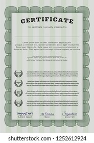 Green Sample Certificate. With great quality guilloche pattern. Customizable, Easy to edit and change colors. Beauty design.