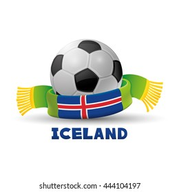 Green scarf with the flag of Iceland and soccer ball.