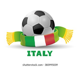 Green scarf with the flag of Italy and soccer ball
