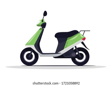 Green scooter semi flat RGB color vector illustration. Classic electric bike for italian road trip. Urban moped for riding. Delivery transport isolated cartoon object on white background