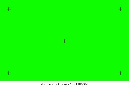 Green screen background. VFX motion tracking markers. Design green screen backdrop template. Abstract concept video footage replacement tracking markers element. Set Vector illustration EPS 10