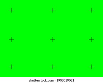 Green screen camera with focus crosses background. Video chroma key with black sights digital zoom of modern vector film industry.