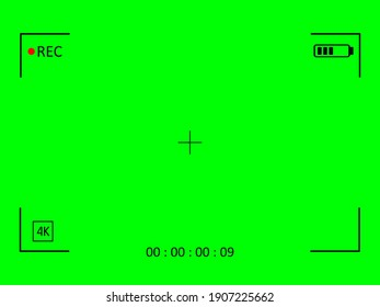 Green screen camera with video shooting parameters. Chroma key with viewfinder cross and resoluton photo quiality indicators. Digital zoom for modern vector bloggers.