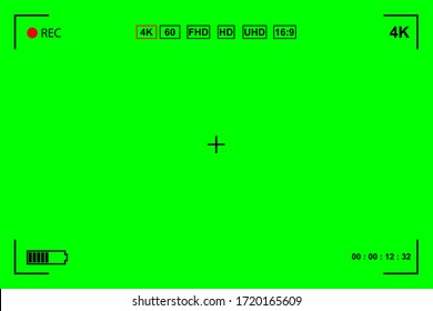 Green screen, chromakey background. Blank green background with VFX motion tracking markers. Screen of modern digital camcorders. Chroma Keyboard for keyboards, graphics and video effects. Vector