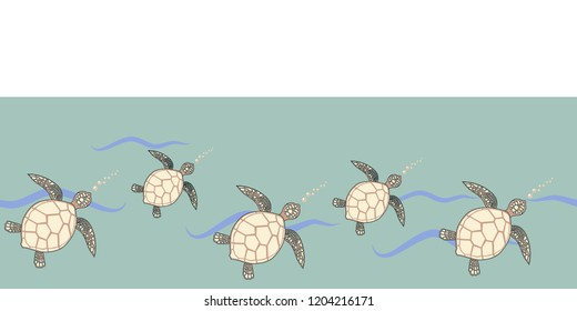 green seamless border with sea turtles beige and brown