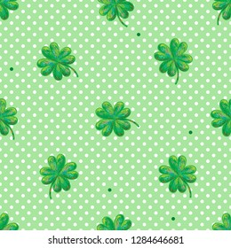 Green seamless clover vector pattern for St. Patrick's Day. Seamless clover leaves background. Clover texture perfect for wallpapers, pattern fills, web page backgrounds, surface textures, textile