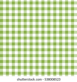 Green seamless Gingham and Buffalo Check Plaid pattern. Tablecloths, fabric texture, stamp for apparel, gift wrapping paper, sleepwear, pillow, shirt and other textile products. Vector illustration