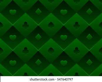 Green seamless pattern fabric poker table. Minimalistic casino vector 3d background with texture composed from volume card symbol