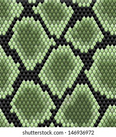 Green seamless snake skin pattern for background design. Jpeg version also available in gallery