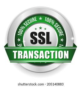 Green secure transaction button with ribbon on white background