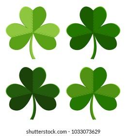 Green set of leaf clover icons. Vector illustration