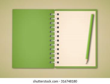 Green Set Notebook Pencil Vector