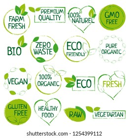 Green set of organic food, farm fresh, natural product, zero waste elements, labels, logos for vegan cafe, healthy life, food market, organic products, packaging.