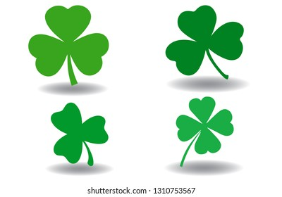 Green shamrock clover vector icon. St Patrick day symbol, leprechaun leaf sign. Shamrock clover isolated, flat decorative element. Logo illustration.