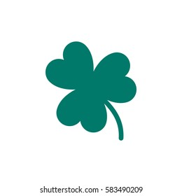 Green Shamrock icon in trendy flat style isolated on white background. Three leaf clover symbol for your web design, logo, app, UI. St. Patricks day sign. Vector illustration, EPS10.