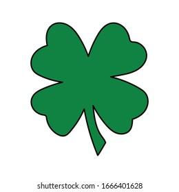 Green Shamrock Icon Vector . St Patrick Day Symbol