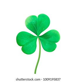 Green Shamrock leaf isolated. St Patrick day symbol. Clover vector logo.