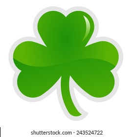 Green shamrock, three leaf clover, vector illustration