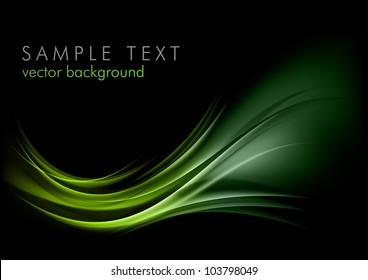 green shape shining on the black