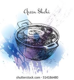 Green shchi watercolor effect illustration. Vector illustration of Russian cuisine.