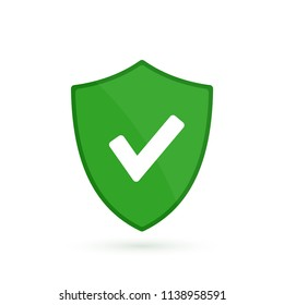 Green shield with check mark icon. Graphic notification of success. Vector illuestration in flat style.