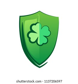 Green Shield with lucky Clover. Celtic symbol for Saint Patrick Day. Vector Clipart isolated on white background.