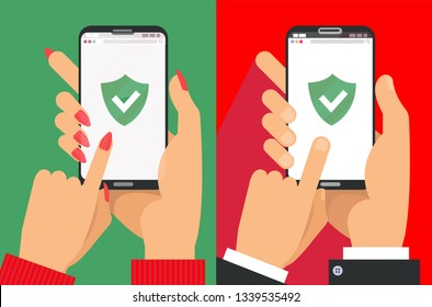 Green Shield on smartphone screen. Male and female Hands hold the smartphone and finger touches screen. icon concept of Web Access Security, Protected Connection.Flat cartoon vector illustration.
