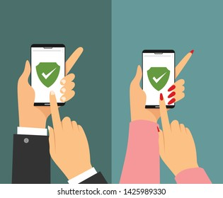 Green Shield on smartphone screen. Male and female Hands hold the smartphone and finger touches screen. icon concept of Web Access Security, Protected Connection.vector