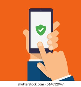 Green Shield on smartphone screen. Hand holds the smartphone and finger touches screen. Modern Flat design illustration.