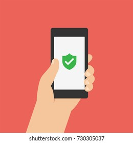 Green Shield on smartphone screen. Hand holds the smartphone. Modern Flat design illustration.