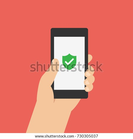 Green Shield on smartphone screen. Hand holds the smartphone. Modern Flat design illustration.