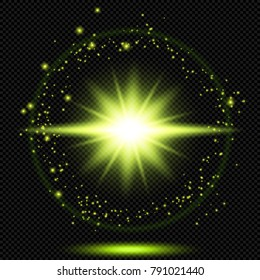 Green Shine Starburst Flare Flash with Sparks and Halo Effect on Transparent Background  - Vector Radiant Supernova Sparkle