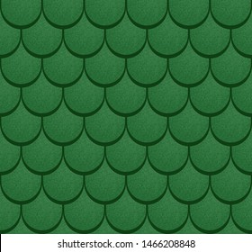 Green shingles roof realistic seamless pattern.  Classic roof. Vector illustration.