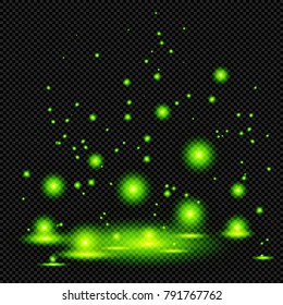 Green Shining Marsh Lights or Witching Potion on Transparent Background  - Vector Bright Glowing Fireflies