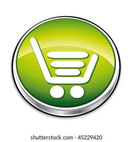 Green shopping basket button. Vector illustration.