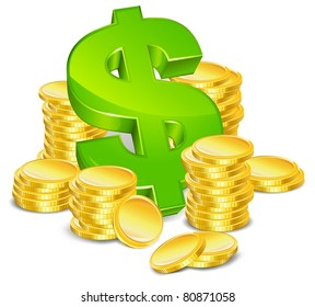 green sign dollar and gold coin on white background isolated vector illustration