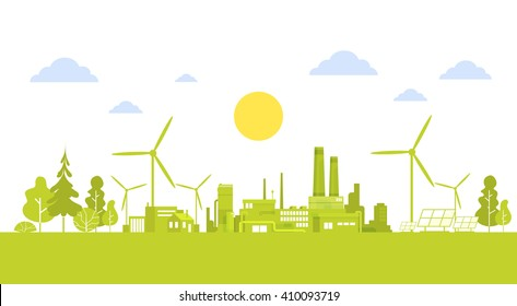 Green Silhouette City With Wind Turbine Clean Nature Ecology Environment Concept Flat Vector Illustration