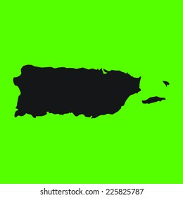 Green Silhouette of the Country Puerto Rico