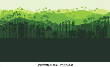 Green silhouette eco city landscape and forest abstract background.Nature and environment conservation concept flat design.Vector illustration.