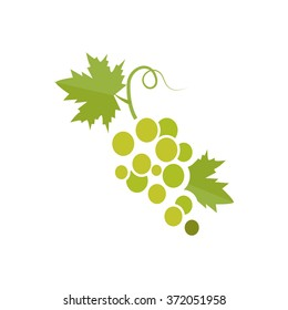 Green silhouette of grapes. Vector illustration.