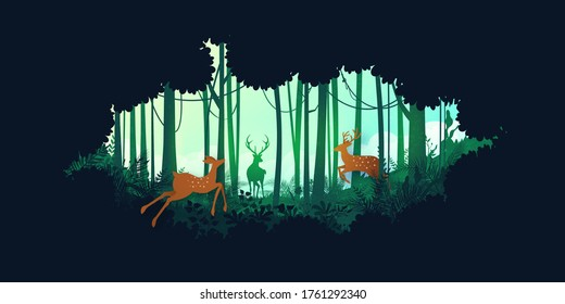Green silhouette jungle tropical rain forest and deer wildlife in nature landscape background.