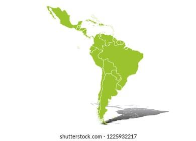 Green silhouette of Latin America.