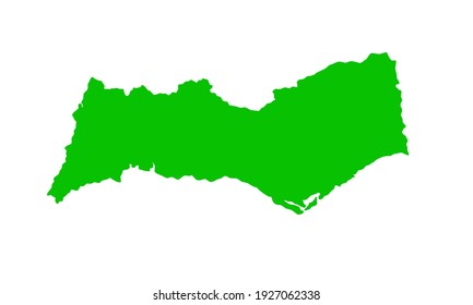 Green silhouette of a map of the Algarve city in southern Portugal on a white background